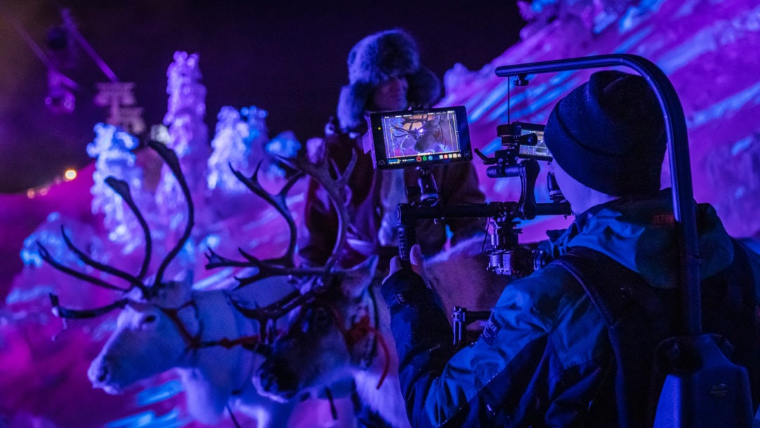 Behind the scenes from our filming of the Polar Night Light Festival in Ruka Kuusamo Finland .2020. Our boy Samuli is behind the Movi with C200 camera, held by Easyrig.