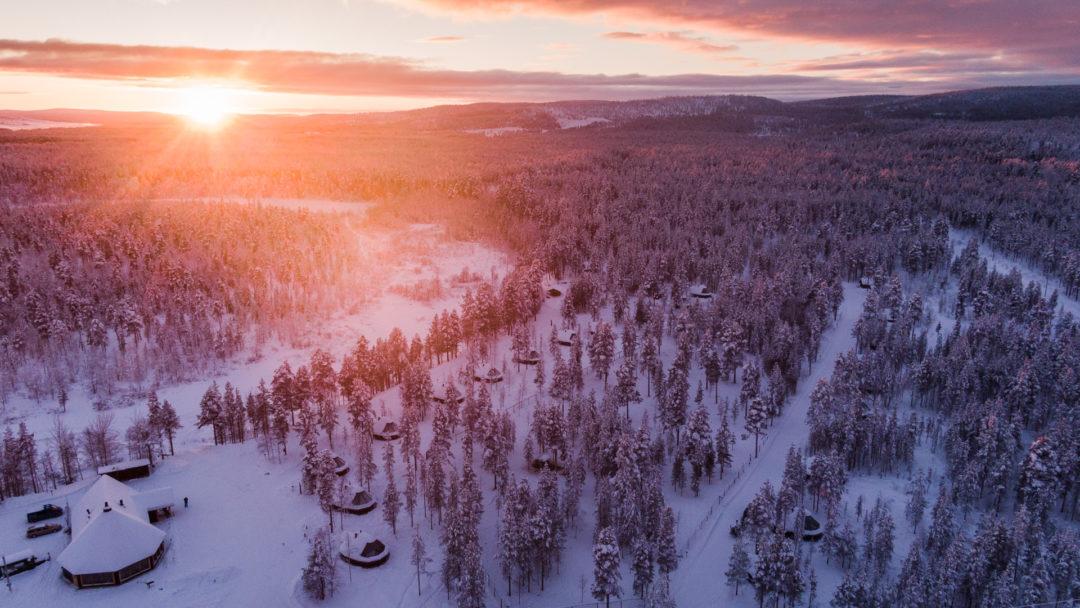 Aurora Village Winter Light Ivalo Lapland Finland.
