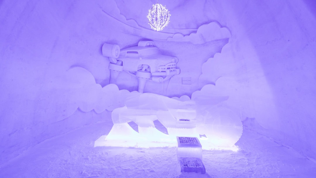 Kids playing room with flying motorcycle made of ice at Kemi SnowCastle 2020.