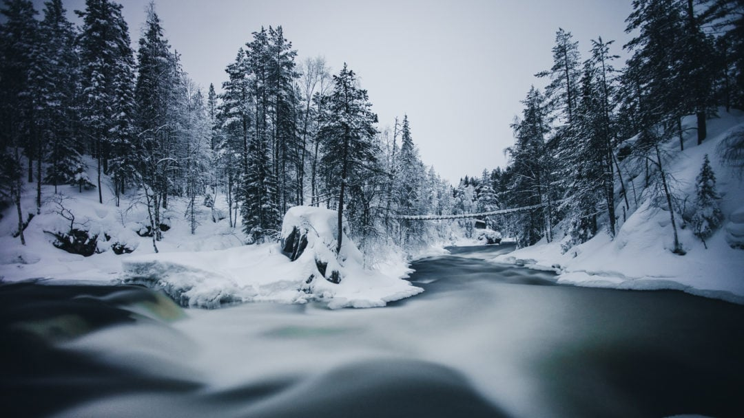 Myllykoski rapids at Oulanka National Park Ruka Kuusamo Finland.