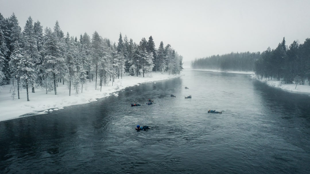 Floating in Rapids with Tailored Adventures company in Ruka Kuusamo Finland.